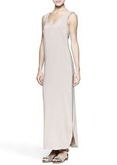 Brunello Cucinelli Monili-Trim Cotton/Silk Maxi Tank Dress
