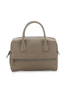 Brunello Cucinelli Monili-Trim Leather Zip Satchel Bag, Taupe