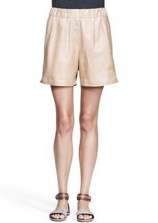 Brunello Cucinelli Nappa Leather Midi Shorts