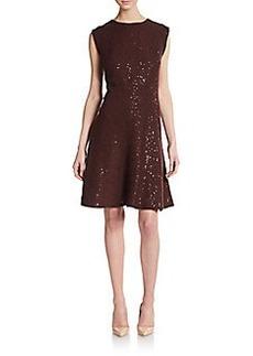 Brunello Cucinelli Pailleté Cashmere & Silk Fit-&-Flare Dress