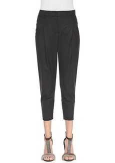 Brunello Cucinelli Pleated Ankle-Zip Carrot Pants