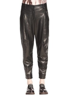 Brunello Cucinelli Pleated Leather Ankle Pants