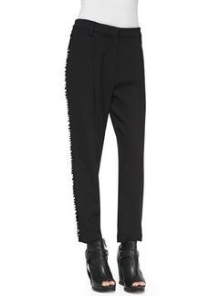 Brunello Cucinelli Pleated Paillette-Stripe Tuxedo Pants