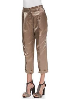 Brunello Cucinelli Pleated Satin Cuffed Pants