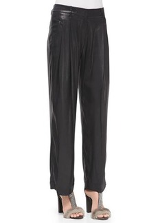 Brunello Cucinelli Pleated Wide-Leg Lamé Pants
