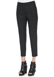 Brunello Cucinelli Polka-Dot Flannel Pleated Pants