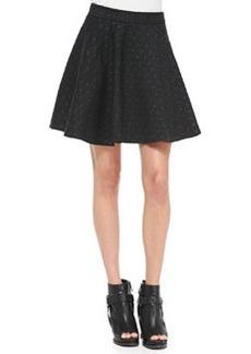 Brunello Cucinelli Polka-Dot Wool Swing Skirt