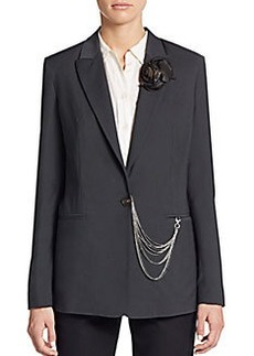 Brunello Cucinelli Rosette-Brooch Chained Blazer