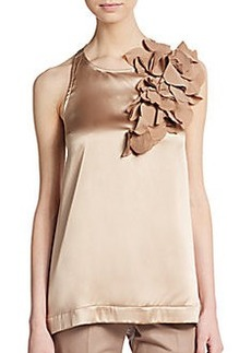 Brunello Cucinelli Rosette Stretch Silk Satin Top