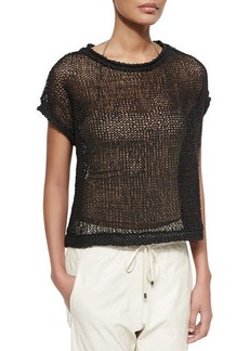 Brunello Cucinelli Rubberized Open Weave Top, Chalkboard