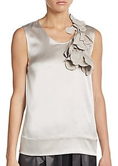 Brunello Cucinelli Satin Petal-Applique Tank