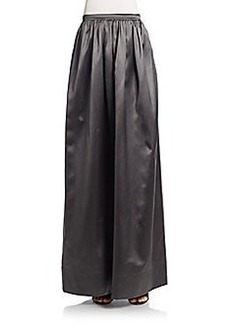 Brunello Cucinelli Satin Pleated Maxi Skirt