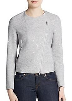 Brunello Cucinelli Sequined Cashmere & Silk Moto Jacket