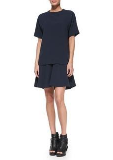 Brunello Cucinelli Short-Sleeve Layered Crepe Dress