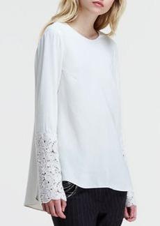 Brunello Cucinelli Silk Lace-Sleeve Blouse