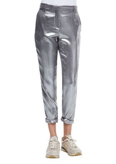 Brunello Cucinelli Silk Lamé Roll-Cuffed Pants