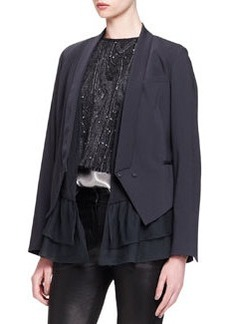 Brunello Cucinelli Silk-Ruffle Crepe Jacket
