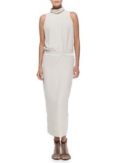 Brunello Cucinelli Sleeveless Mock-Neck Silk Gown