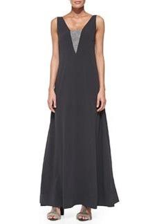 Brunello Cucinelli Sleeveless Monili-Detail V-Back Gown