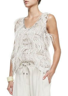 Brunello Cucinelli Sleeveless Ostrich Feather Blouse