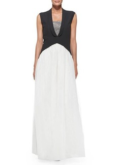 Brunello Cucinelli Sleeveless Tuxedo-Tails Silk Gown
