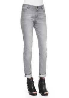 Brunello Cucinelli Slim Straight-Leg Jeans, Stone