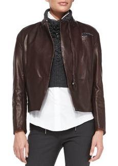 Brunello Cucinelli Stand-Collar Leather Zip Jacket