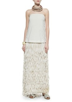 Brunello Cucinelli Strapless Layered Fringe Gown, Vanilla