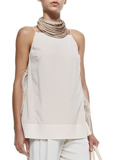 Brunello Cucinelli Strapped Tank W/ Ostrich Feather Sides