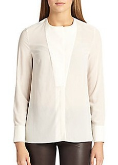Brunello Cucinelli Stretch Silk Bib Blouse