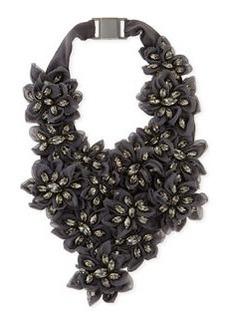 Brunello Cucinelli Swarovski Crystal Flower Bib Necklace