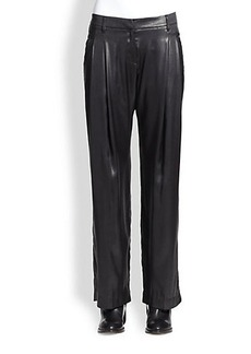 Brunello Cucinelli Wide-Leg Silk Lame Pants