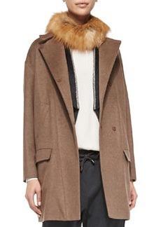 Brunello Cucinelli Wool-Blend Coat with Fox Fur Collar