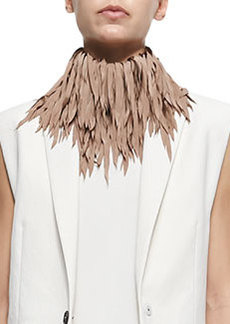 Feathered Silk Fringe Necklace, Biscotti   Feathered Silk Fringe Necklace, Biscotti