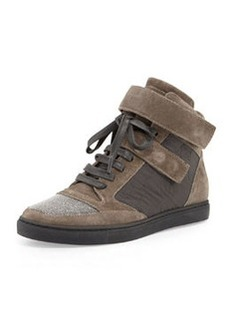 Grip-Strap Suede Hi-Top Sneaker, Grayish Brown   Grip-Strap Suede Hi-Top Sneaker, Grayish Brown
