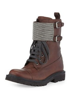 Lace-Up Monili Combat Boot, Espresso   Lace-Up Monili Combat Boot, Espresso