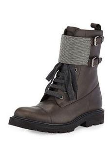Lace-Up Monili Combat Boot, Graphite   Lace-Up Monili Combat Boot, Graphite