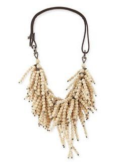 Riverstone Beaded String-Cluster Choker Necklace, Vanilla   Riverstone Beaded String-Cluster Choker Necklace, Vanilla