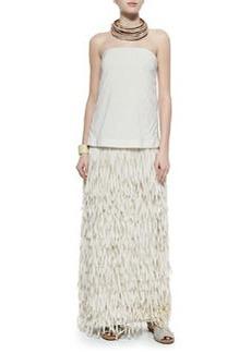 Strapless Layered Fringe Gown, Vanilla   Strapless Layered Fringe Gown, Vanilla
