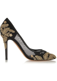 Bruno Magli Beaded embroidered mesh pumps