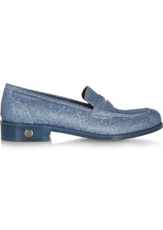Bruno Magli Glitter-finished leather loafers