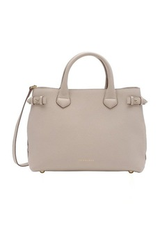 Burberry beige calfskin and house check canvas medium 'Banner' tote