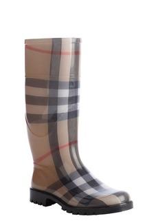 Burberry beige rubber nova check rain boots