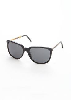Burberry black acrylic metal logo imprinted accent oversize cat eye sunglasses