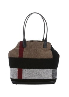 Burberry black and brown check blanket 'Lauriston' medium tote