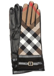Burberry black and khaki leather buckle cuff gloves