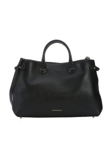 Burberry black calfskin and house check canvas large 'Banner' convertible tote bag