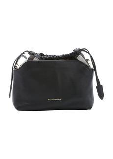 Burberry black calfskin and house check canvas 'Little Crush' shoulder bag