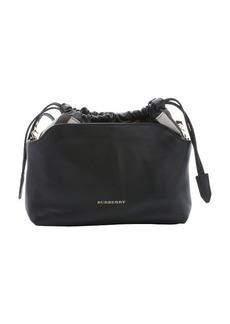 Burberry black calfskin and house check canvas 'Little Crush' shoulder bag