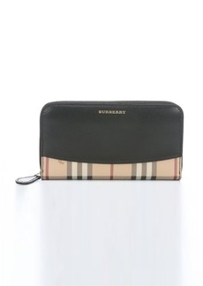 Burberry black calfskin leather and nova check coated canvas 'Haymarket' continental wallet
